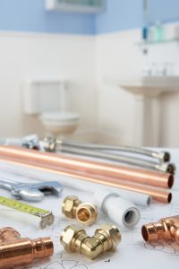 copper pipes and plumbing fixtures